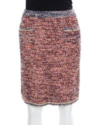 Chanel - Navy Blue And Orange Textured Pencil Skirt L - Lyst