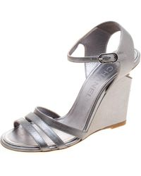 Chanel - Silver Leather Ankle Strap Faux Pearl Embellished Wedge Sandals - Lyst