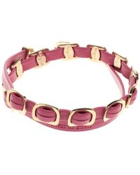 Ferragamo - Leather Gold Tone Chain Link Double Tour Bracelet - Lyst