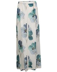 Tory Burch - Off White Blooming Iris Printed Silk Kendra Maxi Skirt M - Lyst