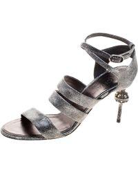Chanel - Metallic Leather Fan Goa Ankle Strap Sandals - Lyst