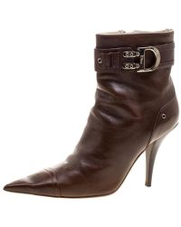 Dior - Leather Buckle Detail Pointed Toe Ankle Boots - Lyst