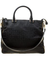Givenchy - Black Signature Nylon And Leather Top Handle Bag - Lyst