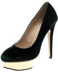 Charlotte Olympia - Velvet Dolly Platform Court Shoes - Lyst