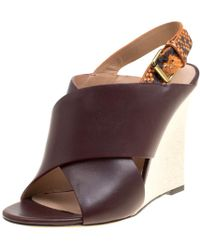 Céline - /multicolor Leather And Python Slingback Wedge Sandals - Lyst