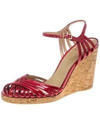 Stuart Weitzman - Red Patent Leather Cork Wedge Ankle Strap Platform Sandals Size 38 - Lyst