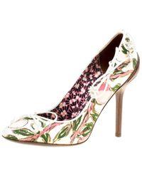 Louis Vuitton - Multicolor Fabric Flower Fields Print Pumps - Lyst