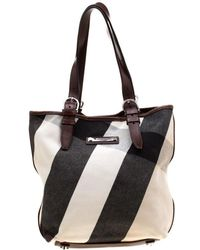 15509d2435b4 Burberry - Brown Mega Check Canvas And Leather Tote - Lyst