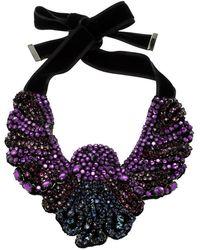 Etro - Crystal Studded Bib Black Fabric Necklace - Lyst