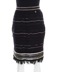 Chanel - Wool And Mohair Embellished Fringe Bottom Pencil Skirt M - Lyst
