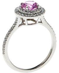 Tiffany & Co. - Soleste Pink Sapphire Diamond Platinum Halo Ring - Lyst