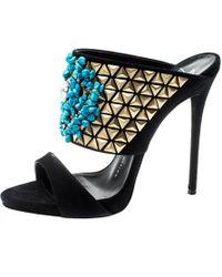 c3f2c160b7773 Giuseppe Zanotti - Black Crystal Embellished Suede Coline Open Toe Sandals  Size 37.5 - Lyst