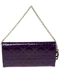 Dolce & Gabbana - Dior Purple Cannage Patent Leather Lady Dior Wallet On Chain - Lyst