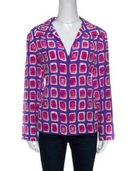 Chanel - And Pink Watercolor Motif Printed Silk Zip Front Blouse M - Lyst