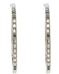 Chanel - Cc Crystal Encrusted Tone Hoop Earrings - Lyst