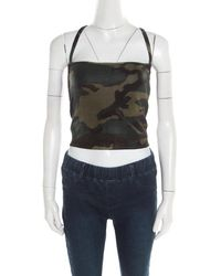 Dior Christian Green Metallic Camouflage Print Cropped Halter Top M