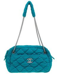 0726373de547 Chanel - Turquoise Quilted Bubble Jersey Snake Effect Chain Bag - Lyst