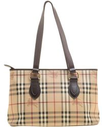 Burberry - / Dark Brown Haymarket Check Pvc And Leather Regent Tote - Lyst
