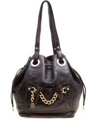Lancel - Dark Croc Embossed Leather Drawstring Bucket Bag - Lyst
