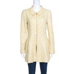 Chanel - Vintage Textured Zip Front Coat S - Lyst