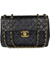 5ef519e05c3f Lyst - Chanel Vintage Square Single Flap Bag Quilted Lambskin Jumbo ...