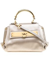 b34a95ae1cc Ferragamo Grey Satin Mini Sofia Crossbody Bag in Metallic - Lyst