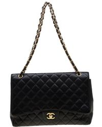 b76aa476702b3f Chanel - Black Quilted Caviar Leather Maxi Classic Single Flap Bag - Lyst