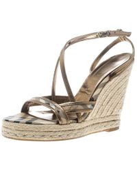 Burberry - Beige Nova Check Canvas And Leather Cross Strap Espadrille Wedge Sandals - Lyst