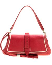 Lancel - Red Leather Clutch - Lyst