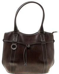 Lancel Brown Lizard Embossed Leather Tote