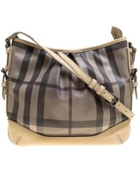 da5b1b77bf Burberry Hampshire Vintage Check Leather Cross-body Bag in Black - Lyst
