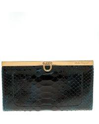 Ferragamo - Dark Blue Python Mandorla Wallet - Lyst