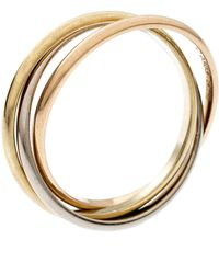 Cartier - Trinity De 18k Three Tone Gold Xs Rolling Band Ring Size 51 - Lyst