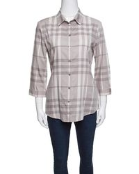 Burberry - Brit Smoked Grey Checked Cotton Long Sleeve Button Front Shirt M - Lyst