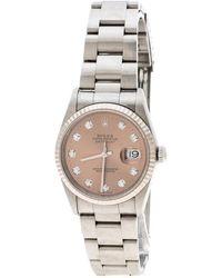 Rolex - Diamond Stainless Steel Lady Datejust Women's Wristwatch 34mm - Lyst