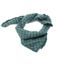 Brunello Cucinelli - Green Circle And Dot Print Textured Silk Pocket Square - Lyst