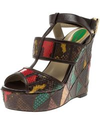 Etro Multicolour Embossed Python Leather Ankle Strap Wedge Sandals Size 36