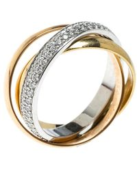 Cartier - Trinity De Diamond & 18k Three Tone Gold Rolling Ring - Lyst