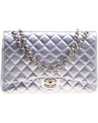 84cf35100d364c Chanel - Lilac Quilted Leather Maxi Classic Double Flap Bag - Lyst