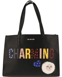 Moschino - Love Leather Charming Shopper Tote - Lyst