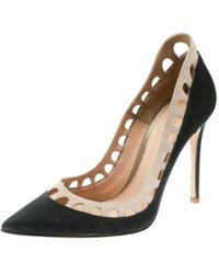 a1ab250de87 Gianvito Rossi - Dark Grey beige Satin And Suede Cut Out Collar Pointed Toe  Pumps