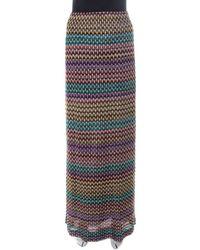 Missoni Multicolour Geometric Pattered Knit Maxi Skirt S