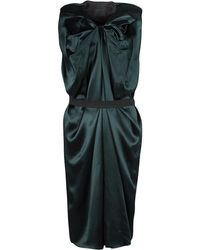 Lanvin - Silk Draped Elastic Band Detail Sleeveless Dress M - Lyst