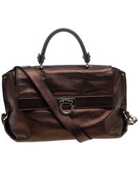 Ferragamo - Metallic Leather Large Sofia Satchel - Lyst 1d384a0ef2460