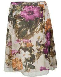 Burberry - London Floral Print Silk Skirt M - Lyst
