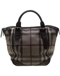 Burberry - Dark Brown Smoked Check Pvc And Leather Satchel - Lyst