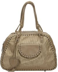 af0db00c9e Céline Tan Leather and Suede Large Convertible Top Handle Bag in ...