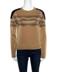 Louis Vuitton - Lurex Knit Contrast Suede Shoulder Patch Detail Cropped Sweater Xs - Lyst