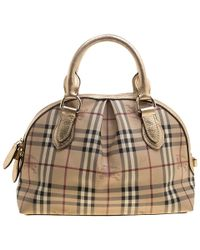 Burberry - Haymarket Check Pvc And Leather Thornley Bowling Bag - Lyst 458373c037dd5