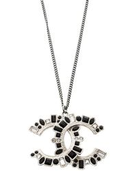 Chanel - Cc Crystal Embellished Tone Pendant Necklace - Lyst